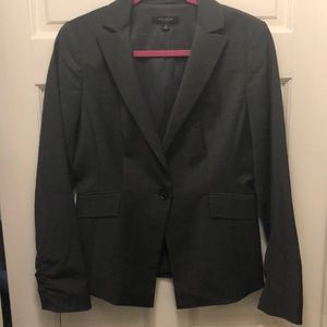 Ann Taylor Grey Suit Jacket with Ruched Sleeves